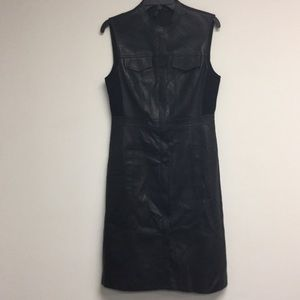 BCBG MAXAZRIA Black sleeveless leather dress